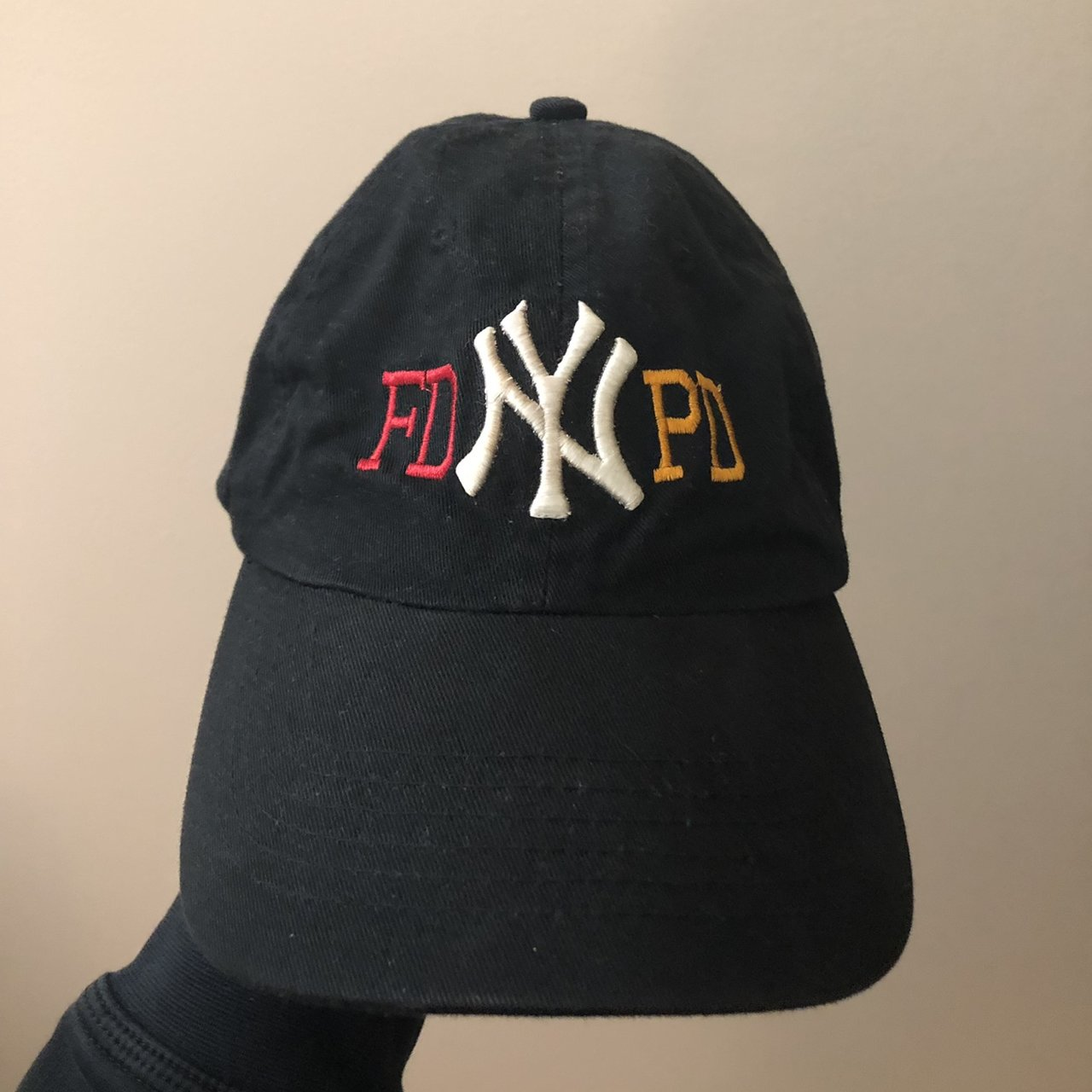 Vintage 90s New York Yankees NYPD FDNY Strap Back Dad Cap. - Depop 2f52c93a93a