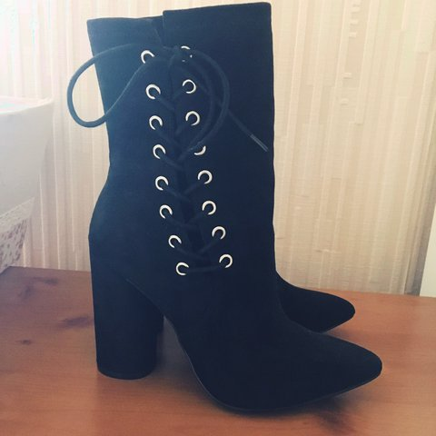 8500eef4691 Missguided black heeled lace up ankle boots. Size 5. Brand - Depop