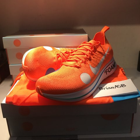 f30a996dbf2f Nike x off-white Zoom fly mercurial orange DS uk8. Comes bag - Depop