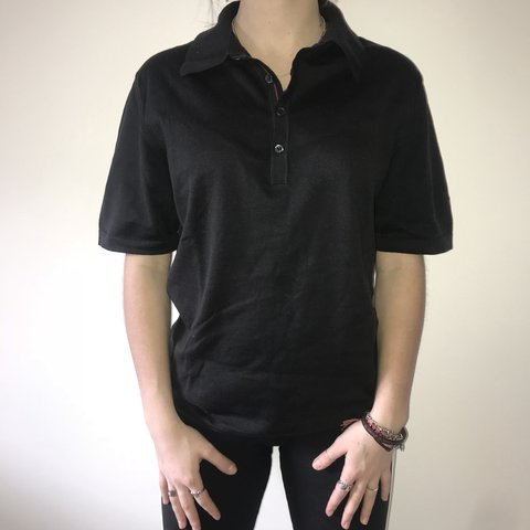 cdf0fa53b authentic, vintage, plain black, GUCCI, men's polo tshirt on - Depop