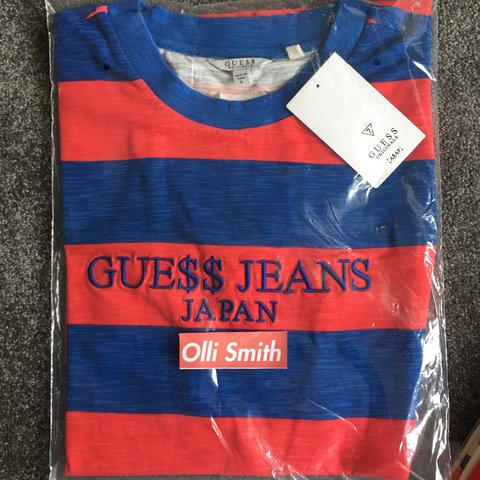 77631a992a7f @ollismith321. 2 years ago. Poole, United Kingdom. A$AP Rocky X Guess Jeans  striped tee in Blue / Red ...