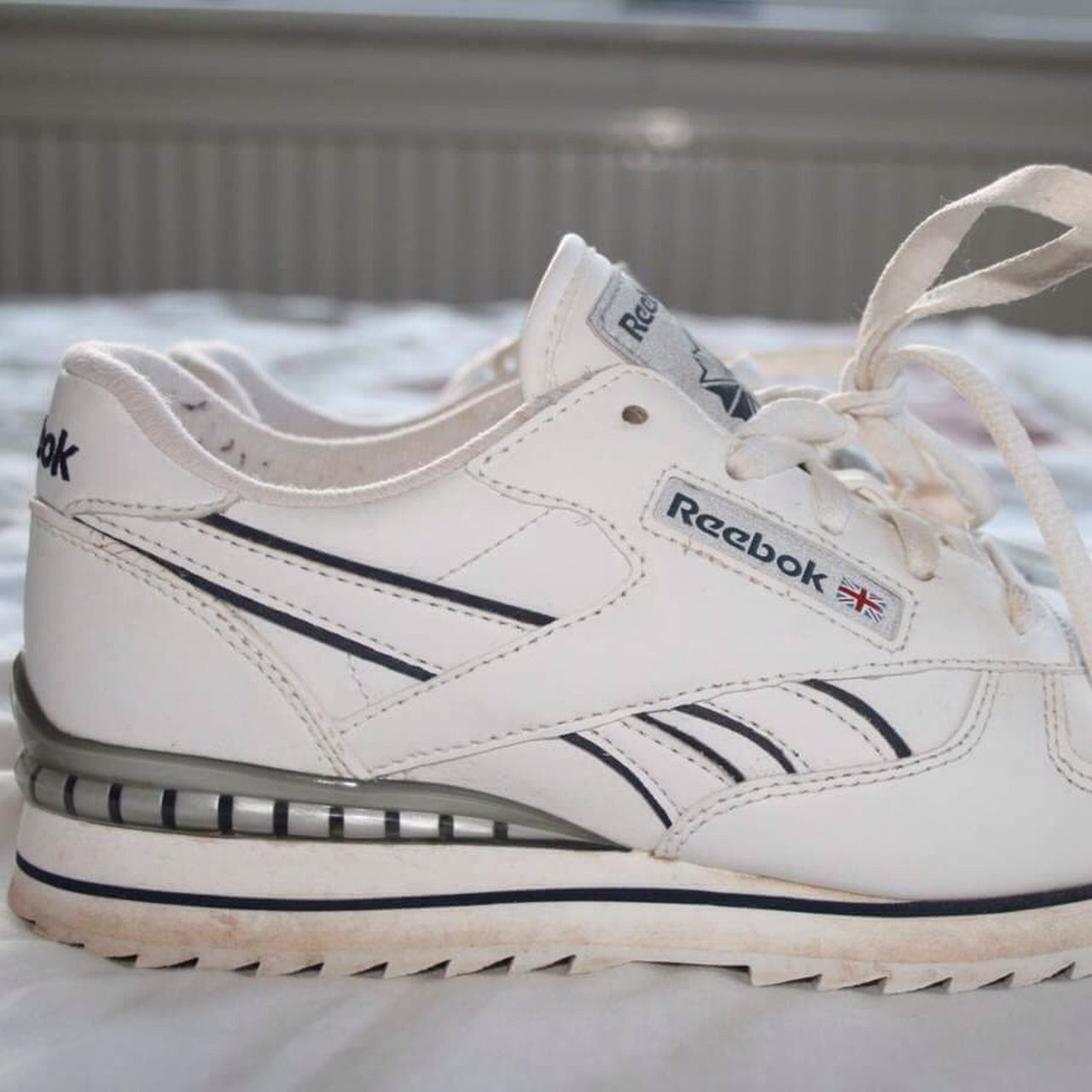775abfb958390 White vintage classic reebok trainers Great condition Size - Depop