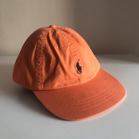 39d4f4f28d951 Polo Ralph Lauren cap Orange with green pony Polo on the or - Depop