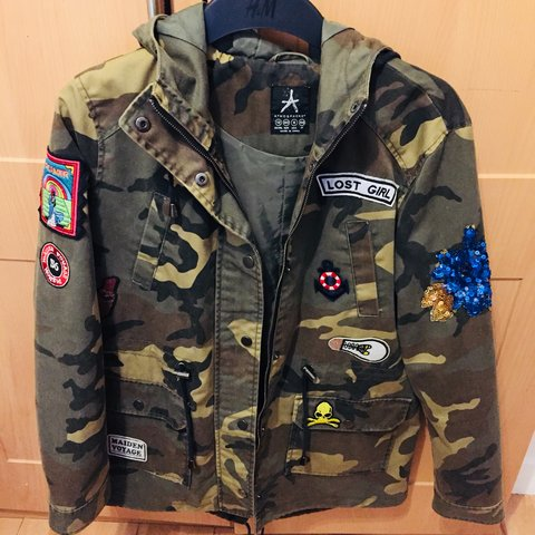 f9057883248ac Army Camouflage Jacket with patches/ sequin - Pennys / - Depop