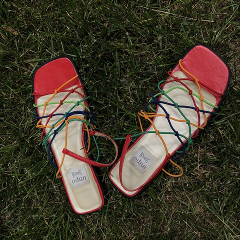 6b7e97e07975 Vintage 90s Rainbow stretch tie flat sandals these are and - Depop