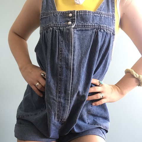 7e225a04 💛Babydoll overalls💛 Denim with pearl buttons and circle n - Depop