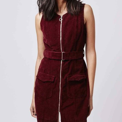 df3bedc00429 Brand new with tag, TOPSHOP zip up cord/corduroy dress in a - Depop