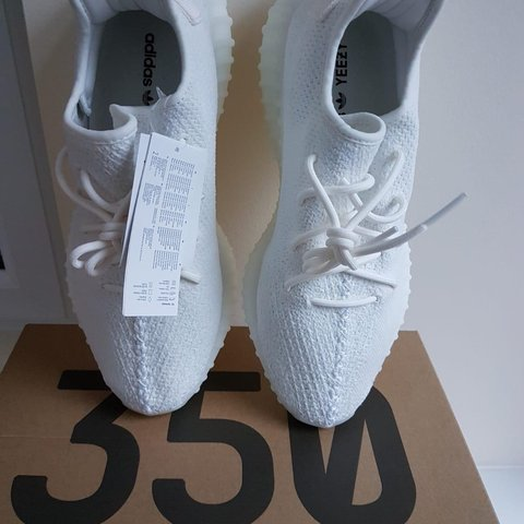 68a2bf31f Triple white yeezy boost 350 v2 Size UK 10 but can fit UK - Depop