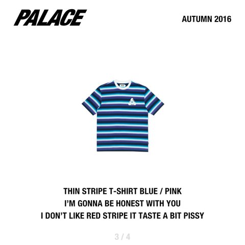 bb089be3a5fe Bndswt. Palace tri ferg striped tee t shirt in blue and High - Depop