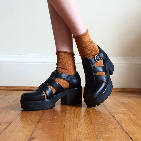 f80f77b115 Vagabond Dioon fisherman platform heels in black leather on - Depop