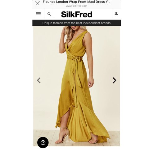 f3c23b567d Flounce London Wrap Front Maxi Dress in Yellow 💛💛💛 from • - Depop
