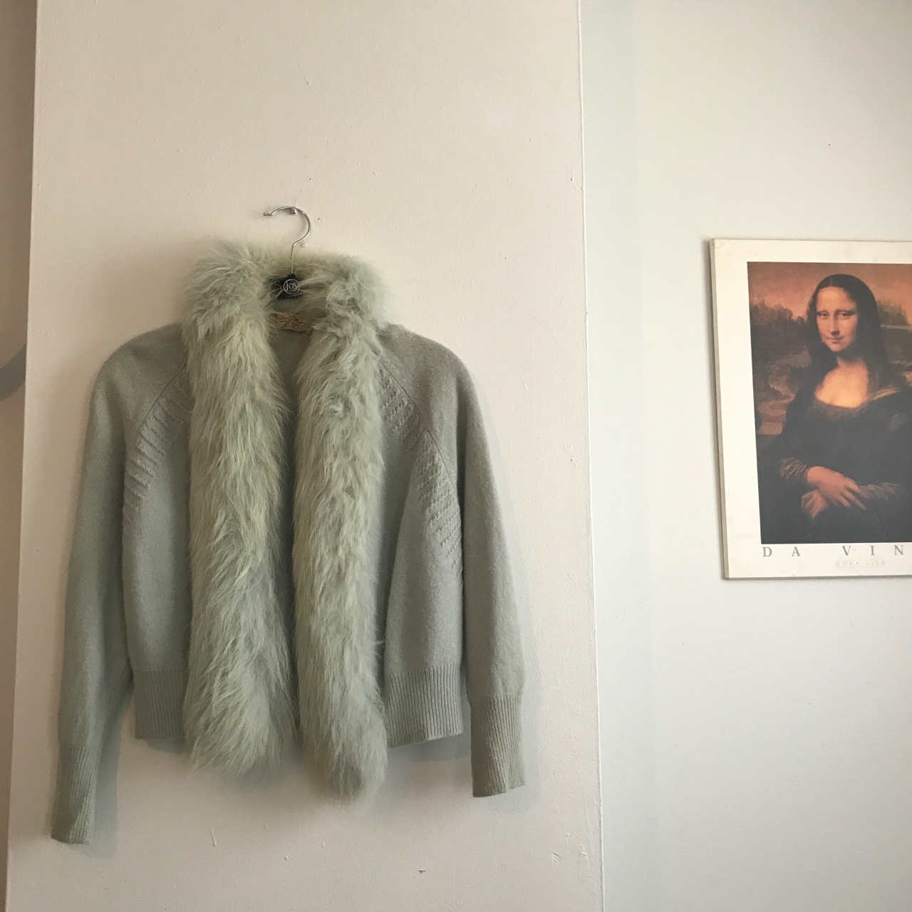 MINT GREEN VINTAGE FUR SWEATER! Extremely out of