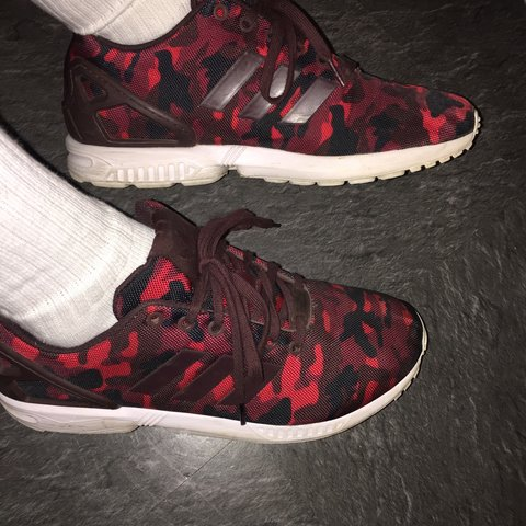 bc062c240 Adidas ZX flux red army camo 9 10 size 9 - Depop
