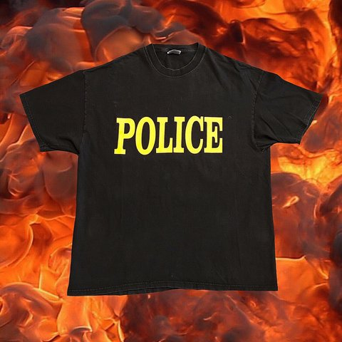 dcca8a32b645 Vintage 90 s POLICE Double-Sided T-Shirt Good Condition