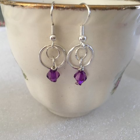 66611c297b8a3c Purple Bead Drop Earrings. Perfect Earrings For A Summer - Depop