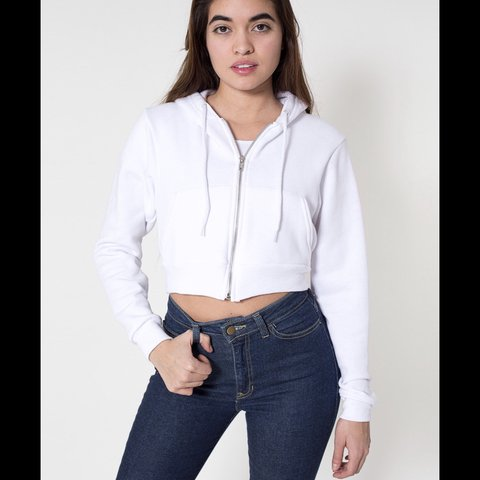 White Cropped Zip Up Sweater From American Apparel Super A Depop