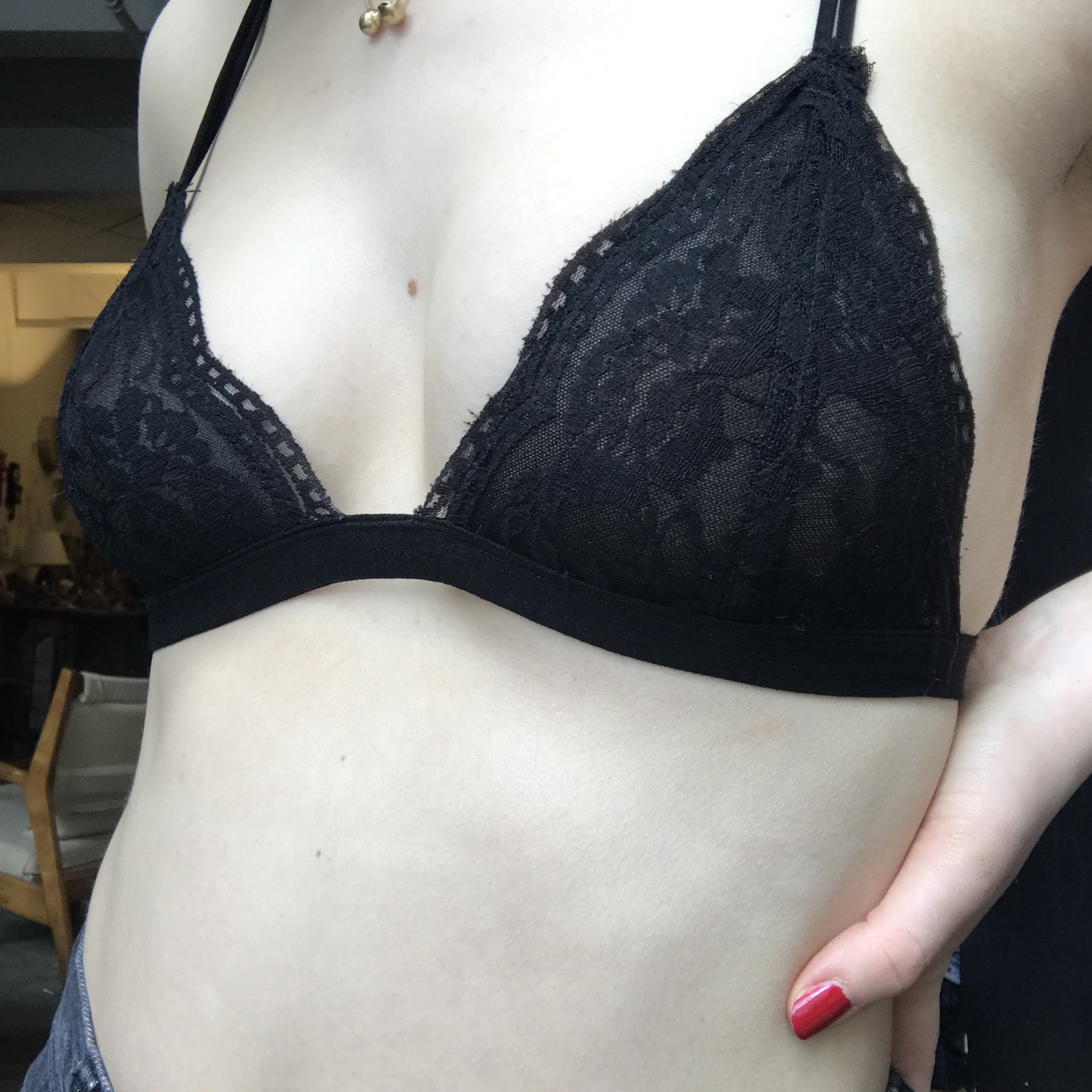 d55eca885ba48 Anemone black lace bralette. Marked s m. I would say fits an - Depop