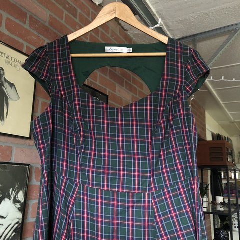 bf869c81cf9 Cute red and green plaid dress! Sad to see it go but it me - Depop