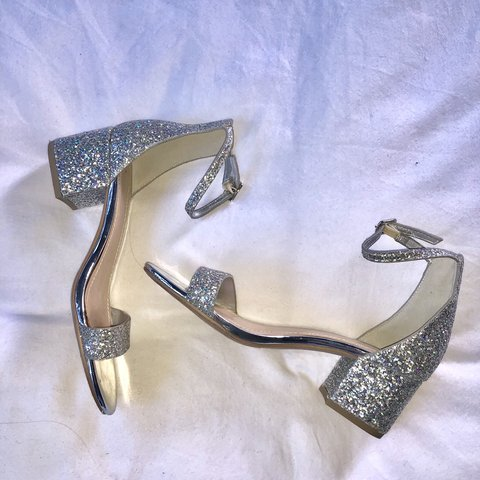 2b5ac33b3e5ff @olenswagger. 3 months ago. Los Angeles, United States. Silver glitter  kitten heeled sandal by Classified. These were worn once for ...
