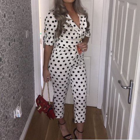 bef368539a7 Asos black and white polka dot jumpsuit. Worn once Rrp£50 in - Depop