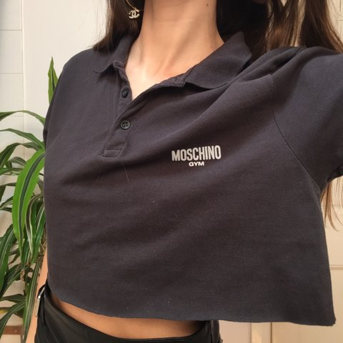 e5c09e98 @josiefoster. 2 months ago. Brighton, United Kingdom. Super cute vintage  black moschino gym cropped polo shirt top