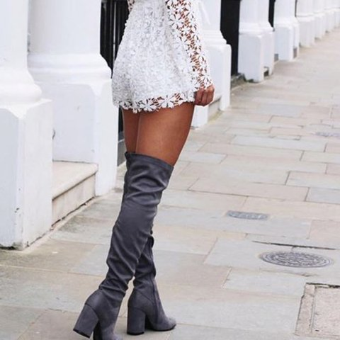 4a38412e936 Lipsy over the knee grey heeled boots. 4
