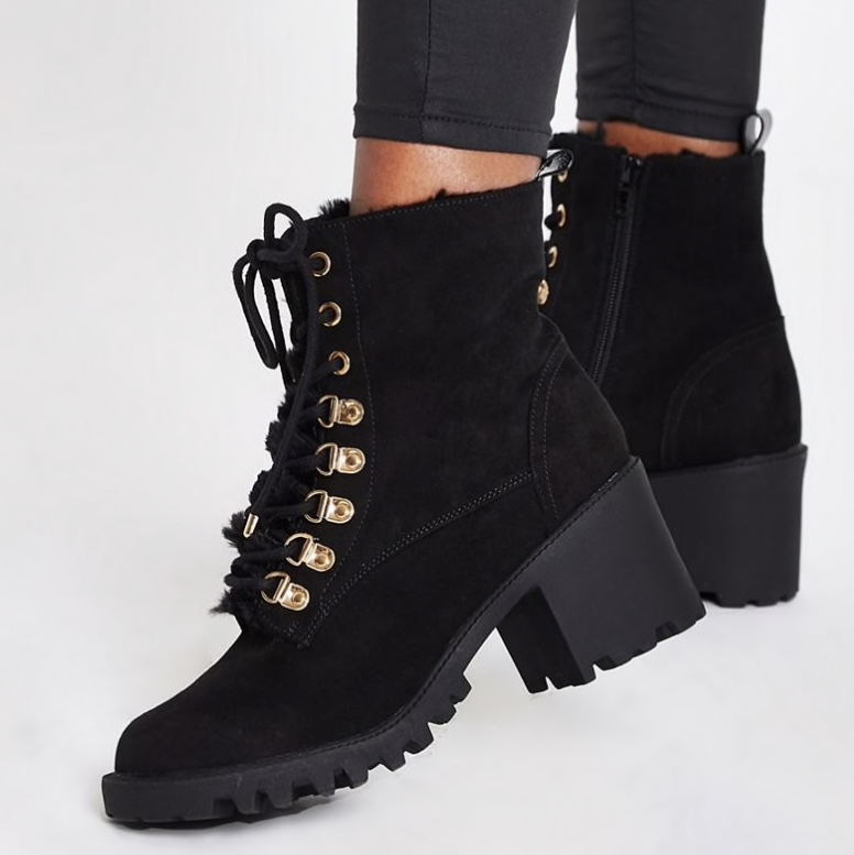 River island black fur lined lace up