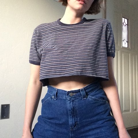 427ed5fba5112 Vintage gap hand-cropped tee. A classic. striped with navy - Depop
