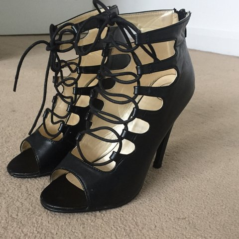 f627013c1eea Lace up. Black. Misguided peeptoe heels. Size 5. 4