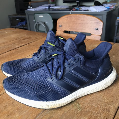 cfd8378267a0c Worn navy blue Adidas UltraBOOST 1.0 Size men s 12 Willing - Depop