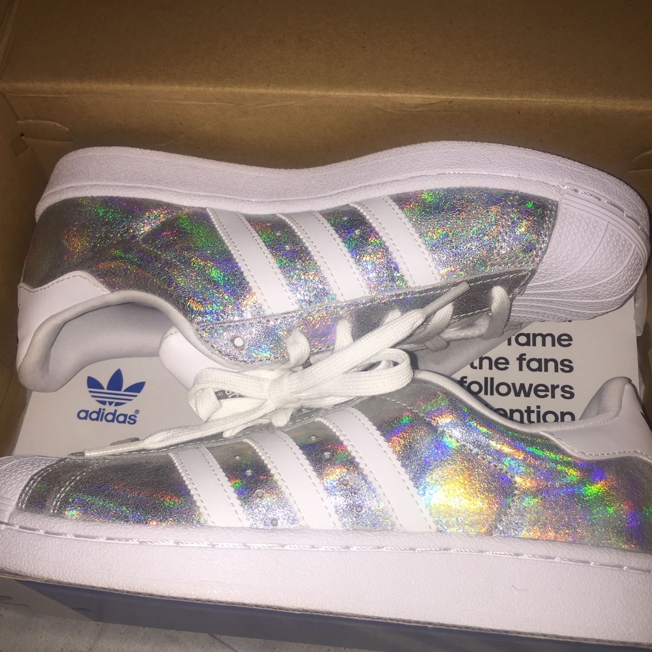 more photos 091e7 d8d53 adidas holographic silver rainbow superstars size... - Depop