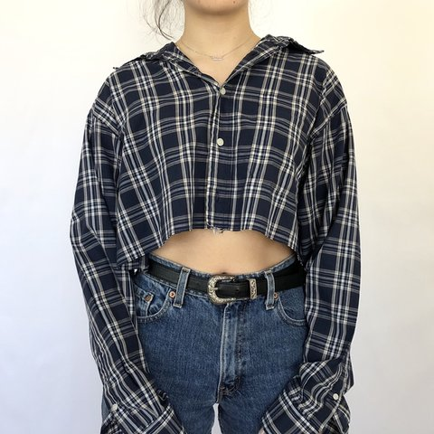 7d5de0ed @alitamc. in 7 hours. Los Angeles, United States. Dark Blue / Grey Plaid  Cropped Button Up Top