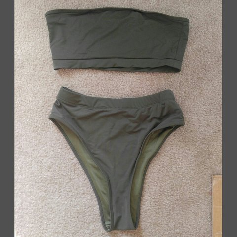 4ccfbc5762b19 @axxac. last year. Texas, US. High Waisted Olive Green Swimsuit Set Never  worn. Great Condition.