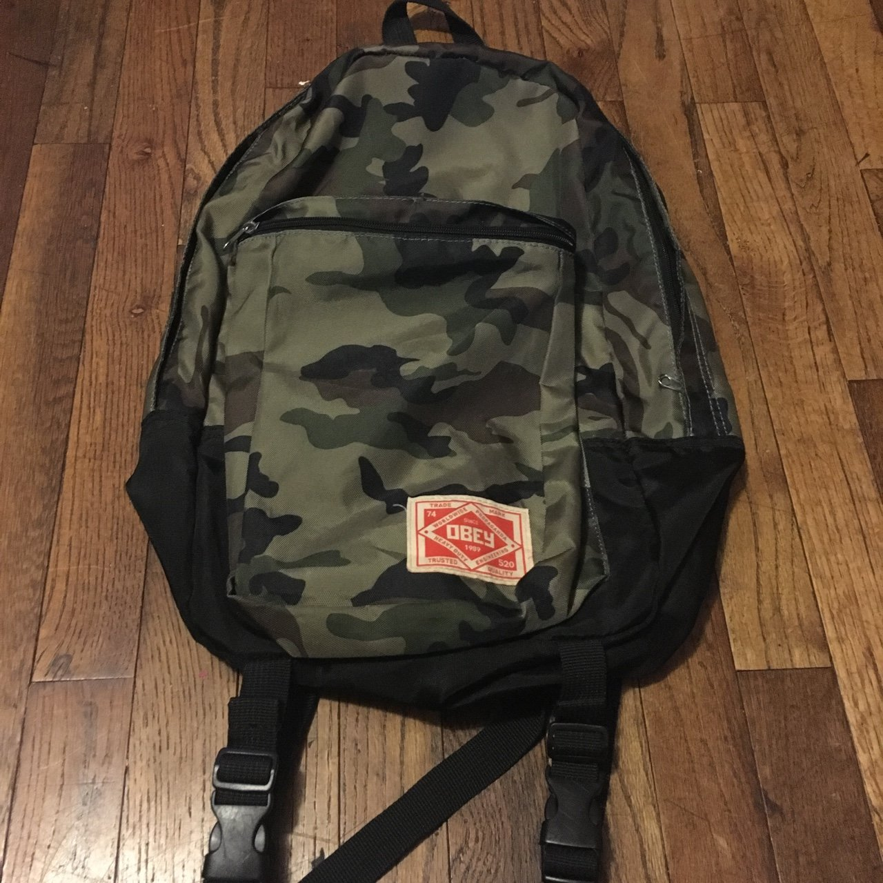 92f533dafe Obey camo travel backpack. Great condition. Huge front with - Depop