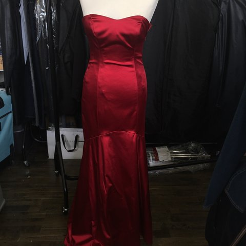 899701bbe5b1 @chfashion. 3 years ago. London, UK. Coast red satin strapless evening dress .