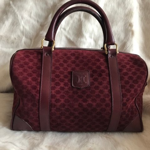 582d808f48 Burgundy Celine Boston bag in suede - Depop