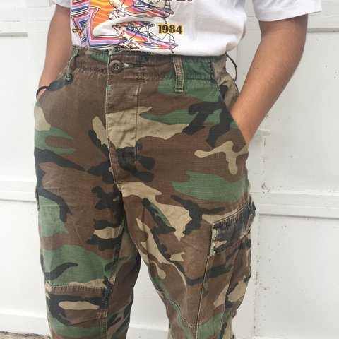 afb99b16df0 Vintage High Waisted Military Camo Pants. Waist has straps a - Depop