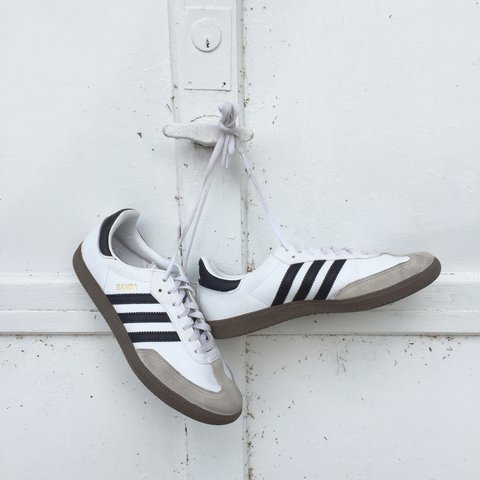 768f1f9a1 @clarie294. 2 years ago. Houston, United States. Adidas Samba White and  Black with Brown Sole.