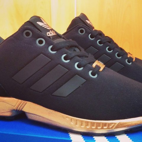 bc989491d690 Adidas ZX Flux Black Copper UK4 Brand new last pairs in the - Depop