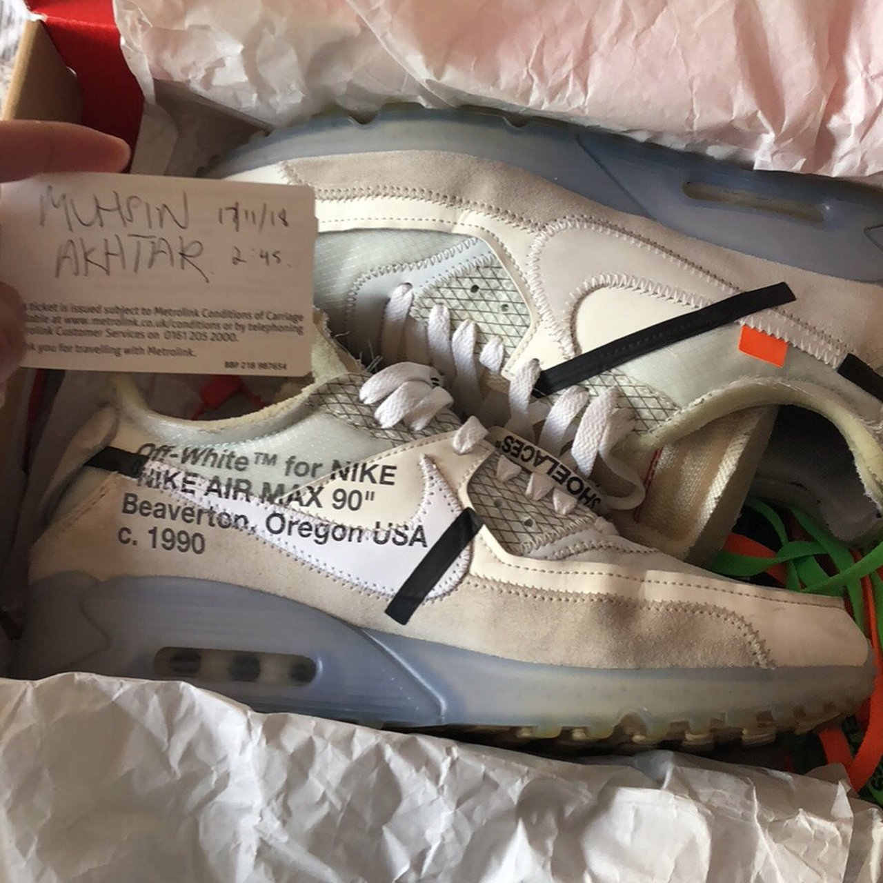 Off White Air Max 90 Og Box With Laces And Red Tag Depop
