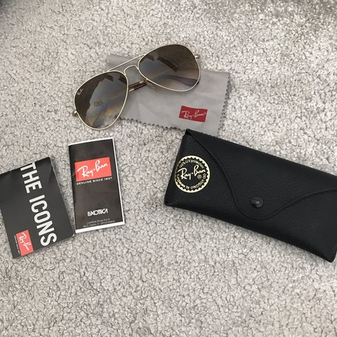 36a19a04809b Ray Ban Aviator sunglasses all gold Model  RB3025 large No - Depop