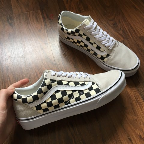 c91c697e9d5680 Checkerboard white black Vans Old Skool in size UK 7 ✨ for a - Depop