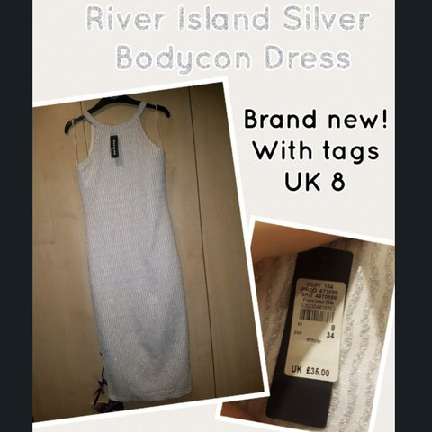 ed190883 @sallylx. 2 years ago. Kearsley, Greater Manchester, United Kingdom. River  island party dress. Bodycon white and silver sparkle! Brand new with tags