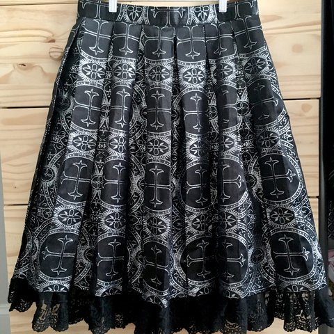 Long Victorian Gothic Brocade Skirt Silver Medieval Pattern