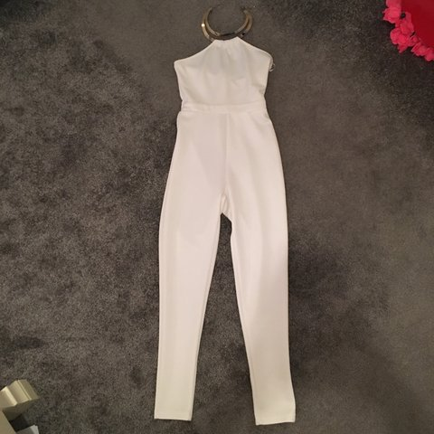 0a74ce386421 White jumpsuit with gold chain. Never been worn. Size 10 but - Depop