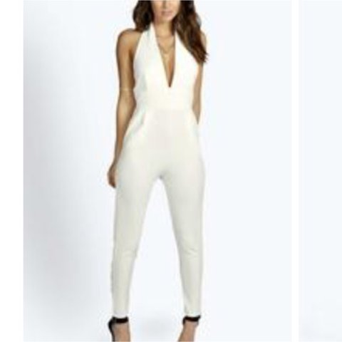 b37ea7eaac27 Brand new with tags! Ivory jumpsuit! Fabulous material and I - Depop
