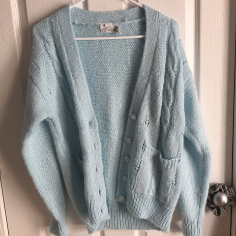 269c25176293 Vintage pastel blue cardigan! Knitted wool soft sweater 💕 - Depop