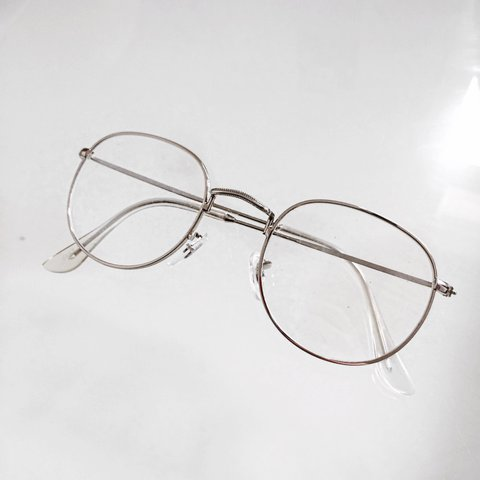 8c03799519 Vintage clear lens glasses 💸 Round shape with a silver as - Depop