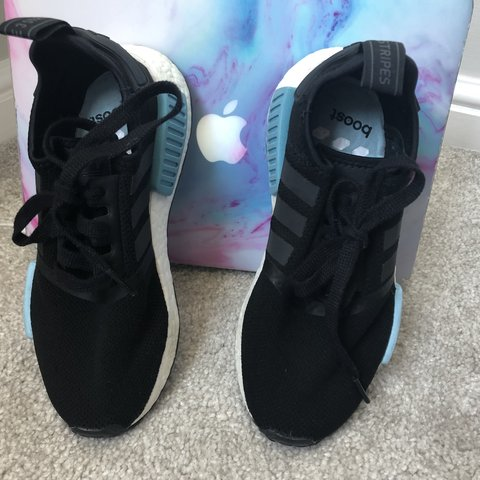 416bc00e6 ADIDAS NMD R2   SIZE 4   trainers black and blue! Hardly dan - Depop