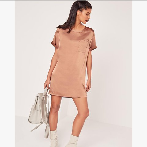 7250b81ad270 @luceebinns. 2 years ago. Radlett, United Kingdom. Missguided satin pocket  nude shift dress / t-shirt ...